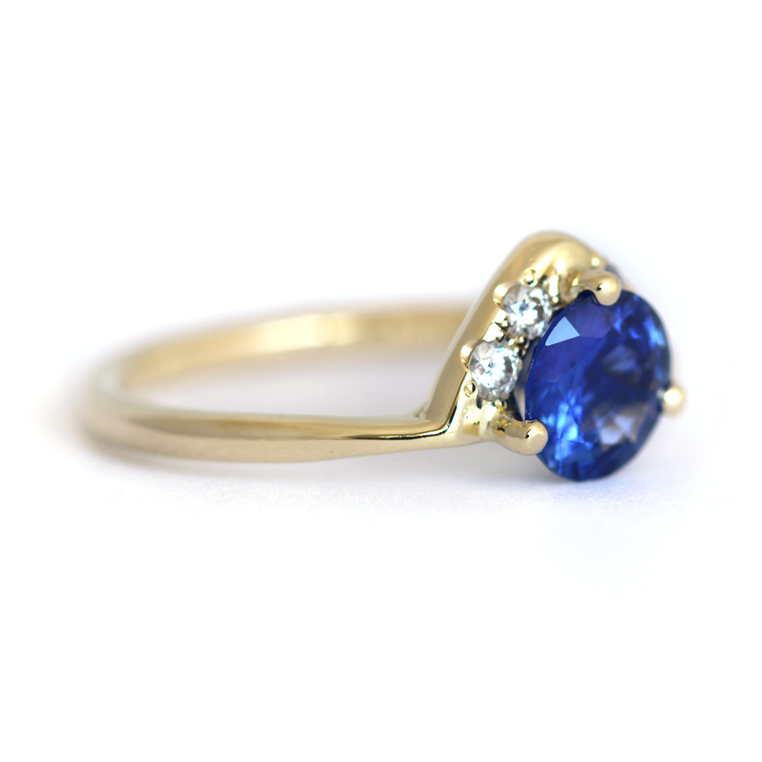 One carat sapphire engagement ring