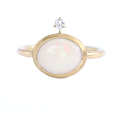 Gold Ring Set With Opal
