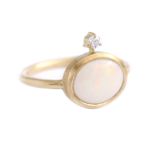 Opal Diamond Engagement Ring