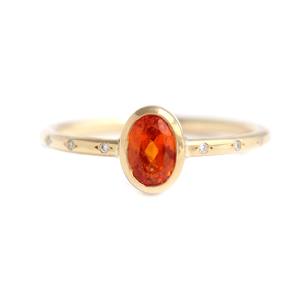 276c3f8de4d00f Orange Garnet Ring - Alternative Engagement Ring – ARTEMER