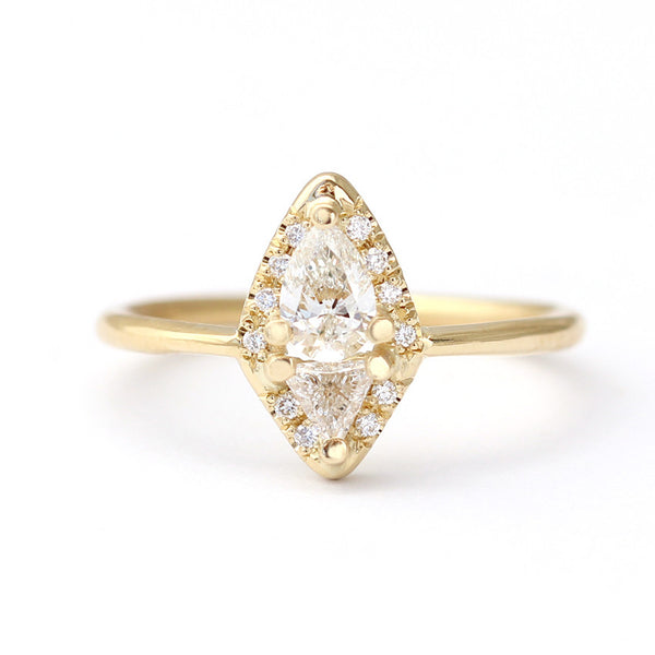 Pear & Trillion Diamond Cluster Ring