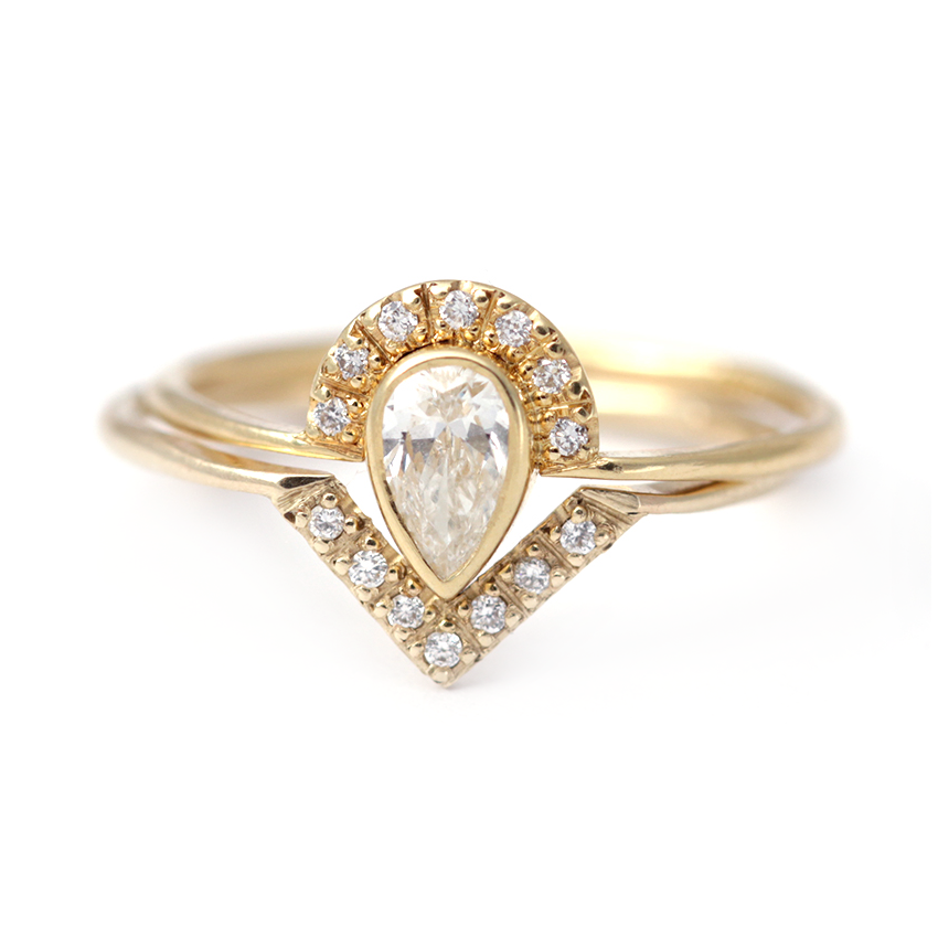 Bridal Set: Pear Diamond Crown Ring with Diamond V Ring