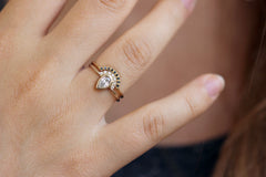 Pear Diamond Ring Set on Hand