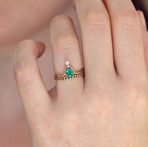 Green Engagement Ring on hand