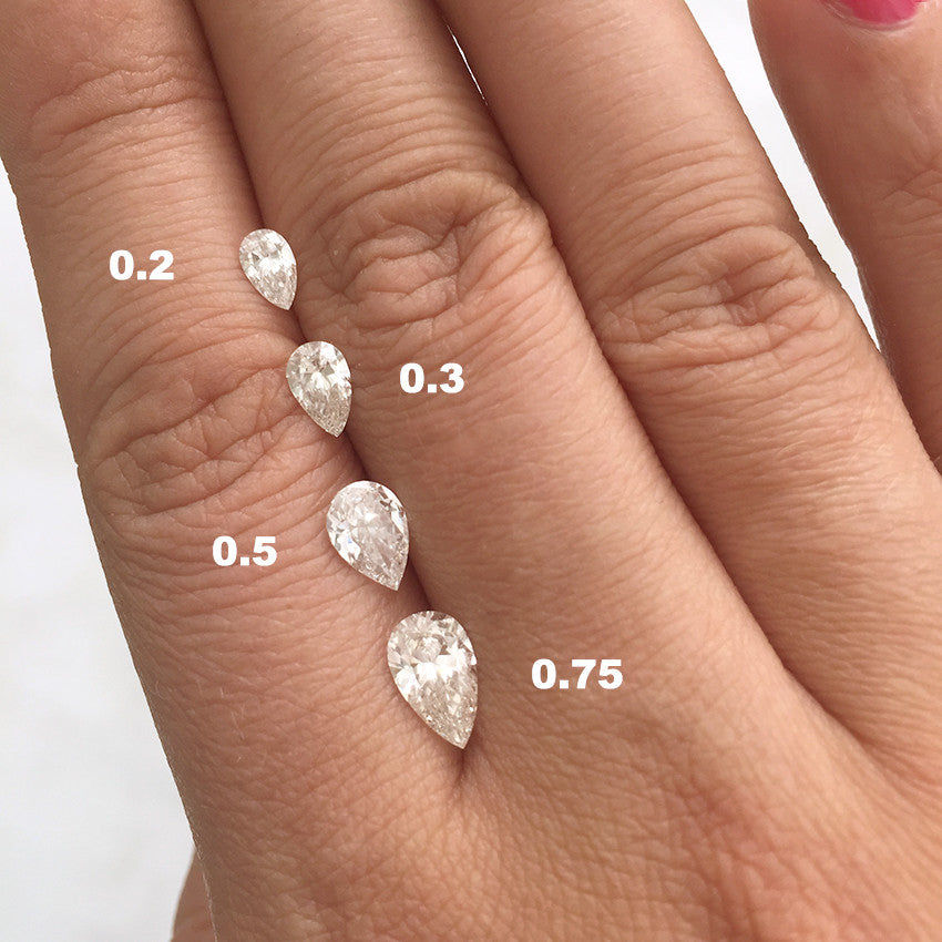 pear cut diamond size chart