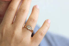 Crescent Diamonds Ring on finger
