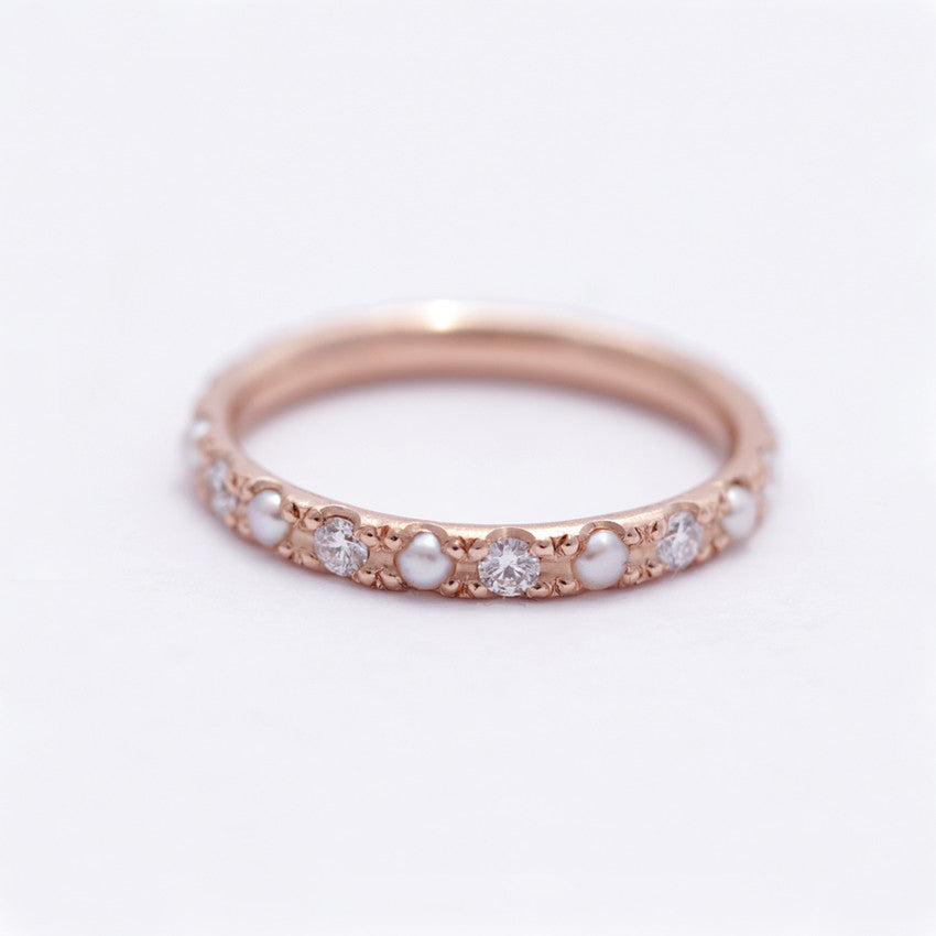 Pearl Eternity Ring in Rose Gold