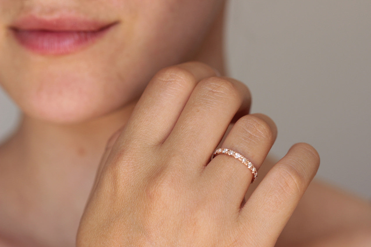 pearl eternity band