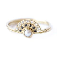 Pearl and Diamonds Wedding Set