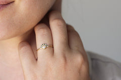dainty pearl engagement ring