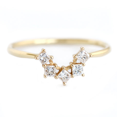 Princess Cut Diamonds Cluster Wedding Ring