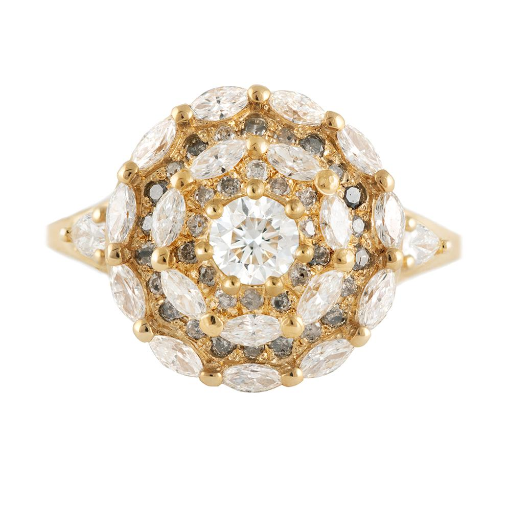 Marquise Diamond Halo Engagement Ring - Diamond Mandala Ring