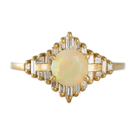 Opal Engagement Ring with Baguette Diamonds7