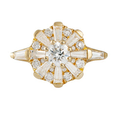 The Sun Temple Ring with Tapered Baguette Diamonds Halo