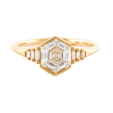 Hexagon step cut engagement ring