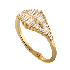 Gradient Diamond Ring with Baguette and Pave Diamonds1