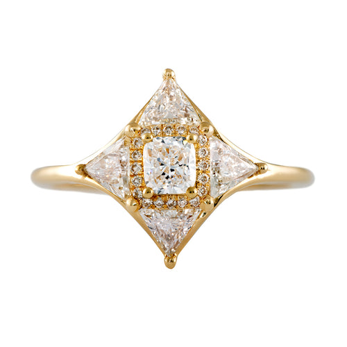 Vintage Style Triangle Diamond Star Ring