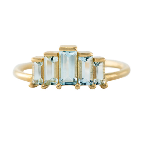 Geometric Baguette Cut Aquamarine Ring