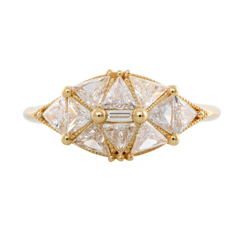 Reflective Dome Ring with Ten Triangle Cut Diamonds