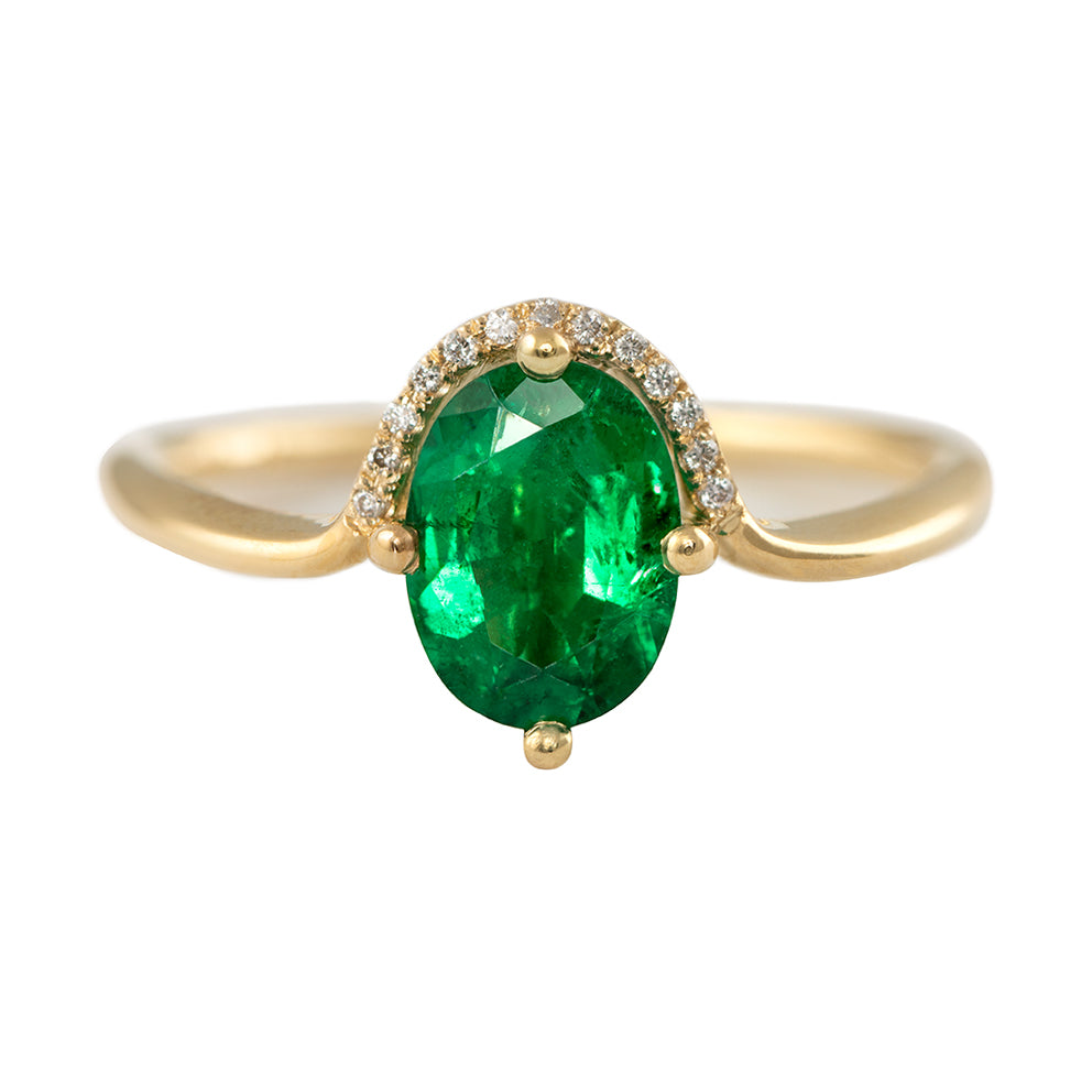 Floating Oval-Cut Emerald engagement ring