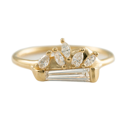 Tapered Baguette Diamond Cluster Ring with Marquise and Pear Diamonds - OOAK