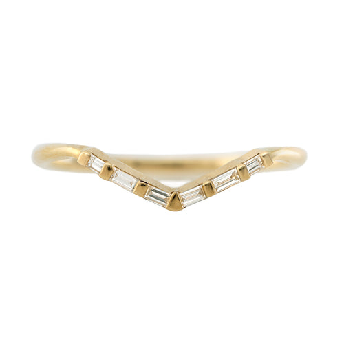 Alliance Chevron avec Diamants Baguette - Bague V Baguette