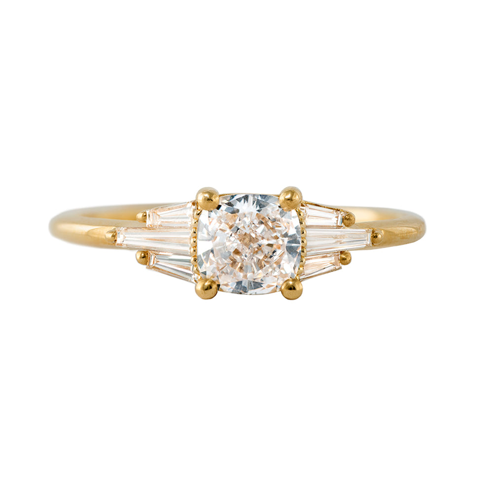 Deco Engagement Ring with Cushion Diamond