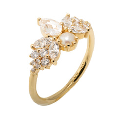 Rose Cut Diamond Ring with Freshwater Pearl - Diamond Butterfly1