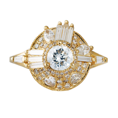 Diamond halo ring with needle cut baguette diamonds and hearts