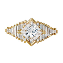 Princess Diamond Ring with Baguette Lineup