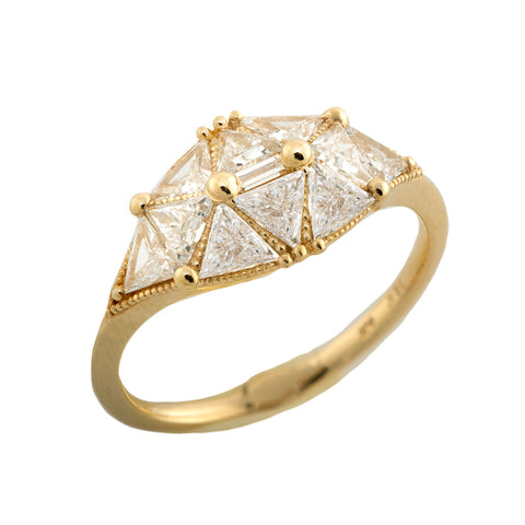 Reflective Dome Ring with Ten Triangle Cut Diamonds1