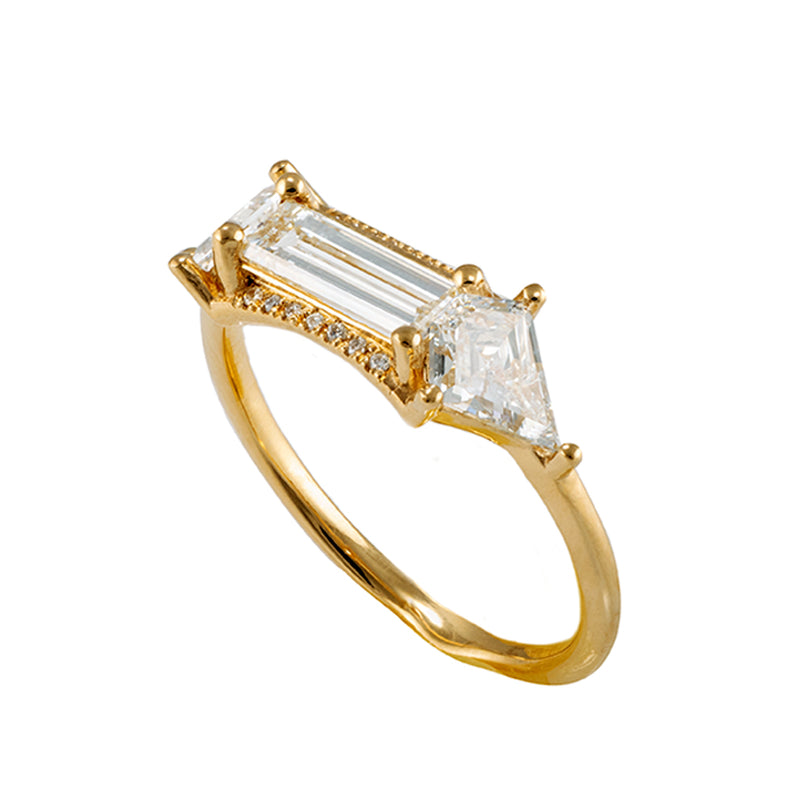 Baguette cut engagement  ring with kite diamonds2