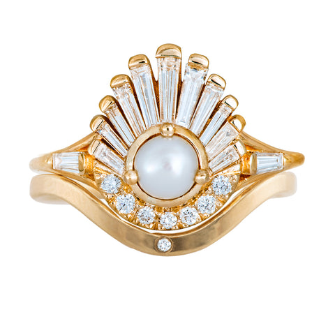 Diamond and Pearl Engagement Ring - Baguette Diamond Shell Ring