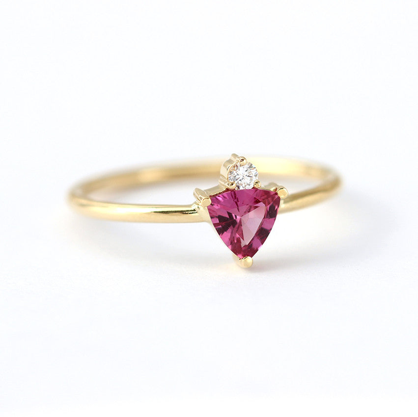 Trillion Pink Sapphire Ring with Diamond