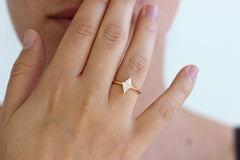 diamond rhombus engagement ring on hand