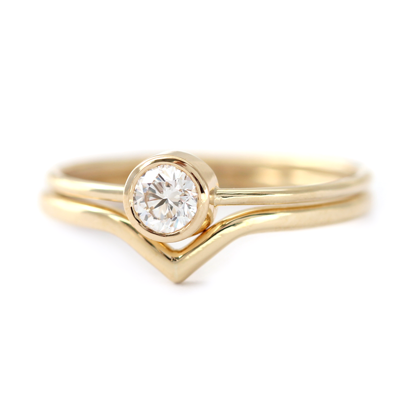 gold wedding in curved angle rings p white band slightly