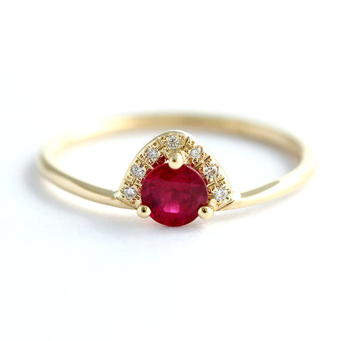 Ruby Engagement Ring with Pave Diamonds Crown