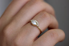 Side View Of Pearl Engagement Ring On Finger