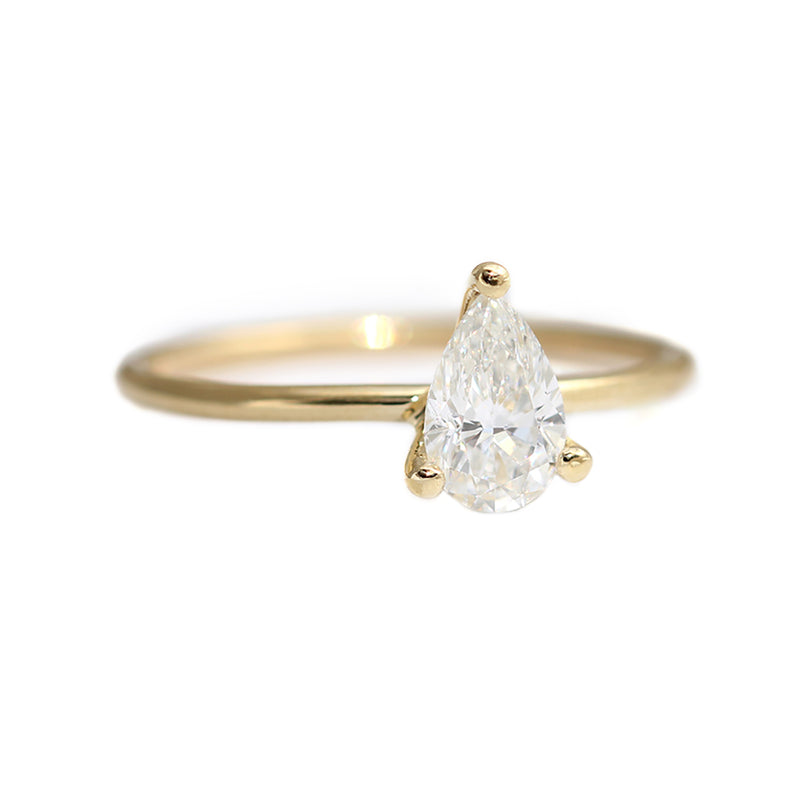 Pear Engagement Ring - Colorless Diamond Ring