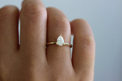 Pear Diamond Ring On Finger