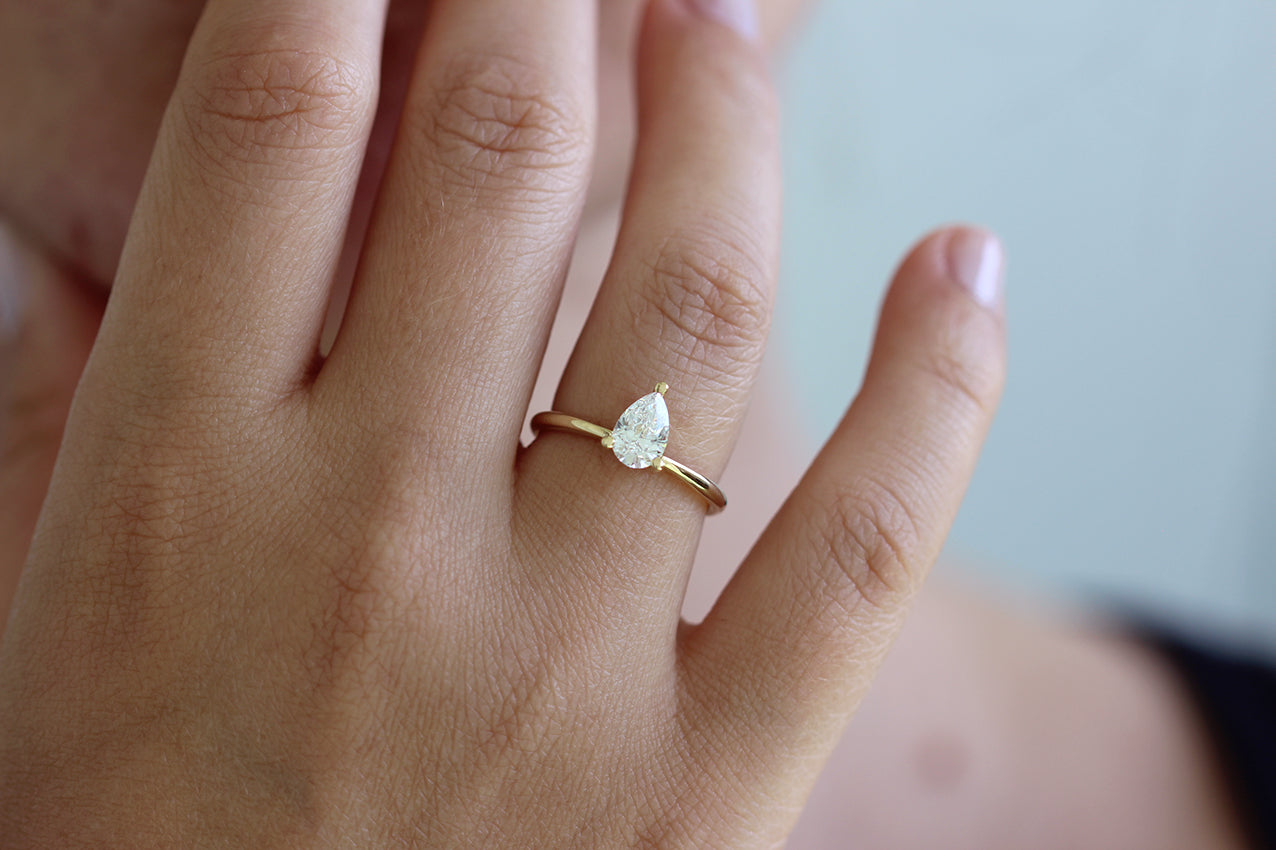 Pear Engagement Ring Colorless Diamond Ring ARTEMER