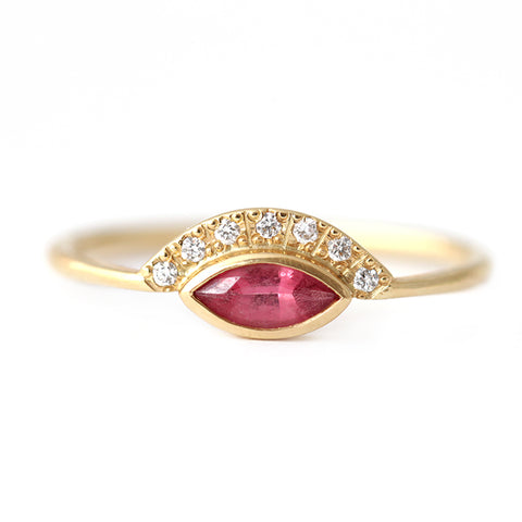Pink Spinel Ring with Pave Diamonds