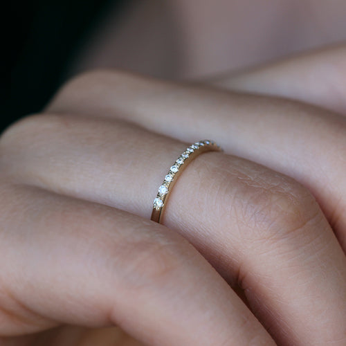Micro Pave Diamond Band - Tiny Pave Diamond Ring on Finger
