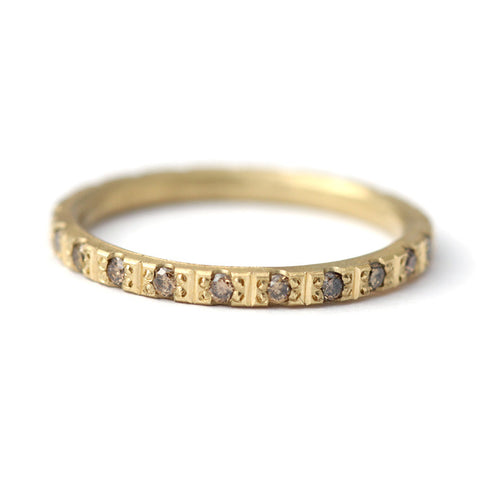 thin eternity ring with champagne diamonds