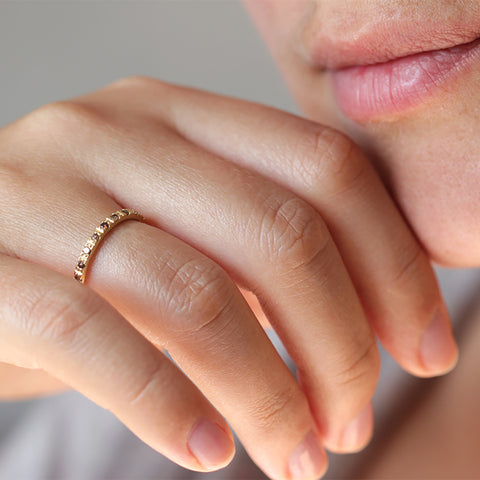 thin eternity ring with champagne diamonds for her