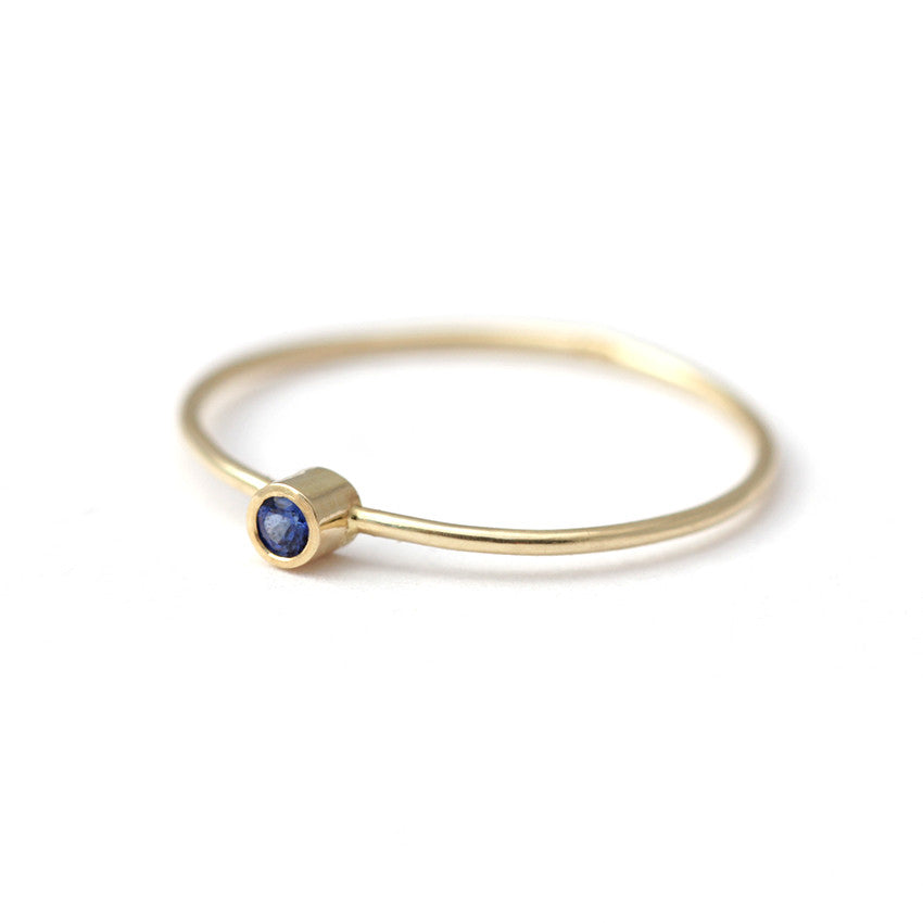 thin gold sapphire ring