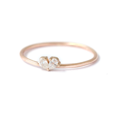 tiny diamond heart ring