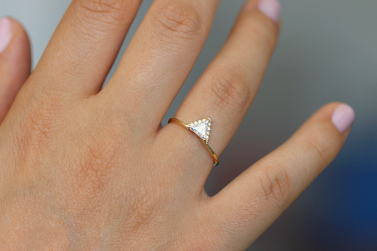 Triangle Diamond Ring on hand