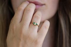Emerald Engagement Ring On Finger