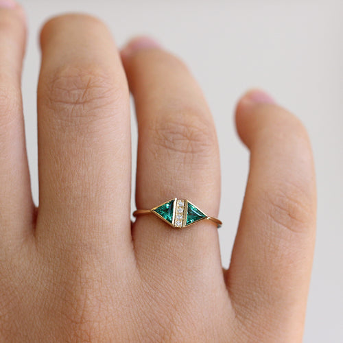 Emerald Art Deco Ring - Emerald Engagement Ring